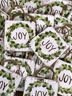 Photo of Farmhouse Wreath Ornament, JOY, Christmas Ornament, Handpainted Ornament, Christmas Wreath, Handmade Ornament, Christmas Gifts, Rustic