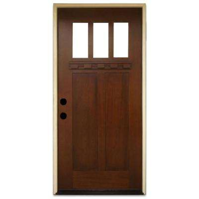 36 In X 80 In Shaker 3 Lite Stained Mahogany Wood Prehung Front
