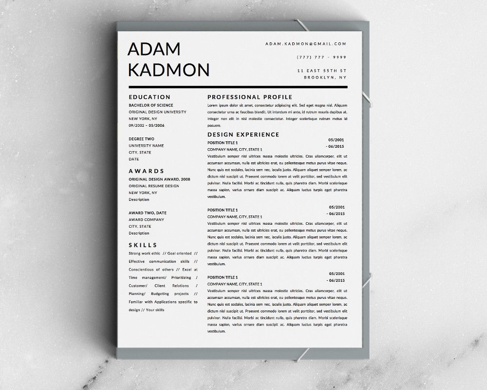adam kadmon modern resume template for microsoft word