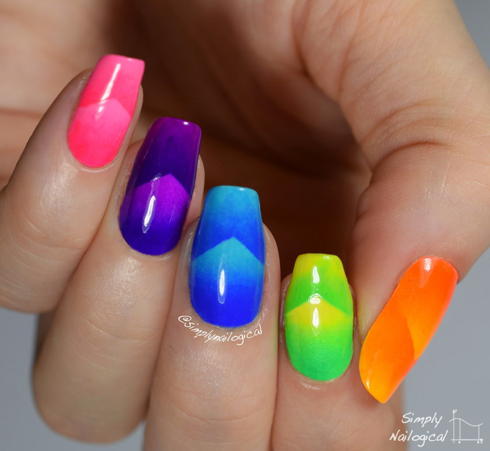 Neon chevron scaled gradient skittle nail art by simplynailogical ...