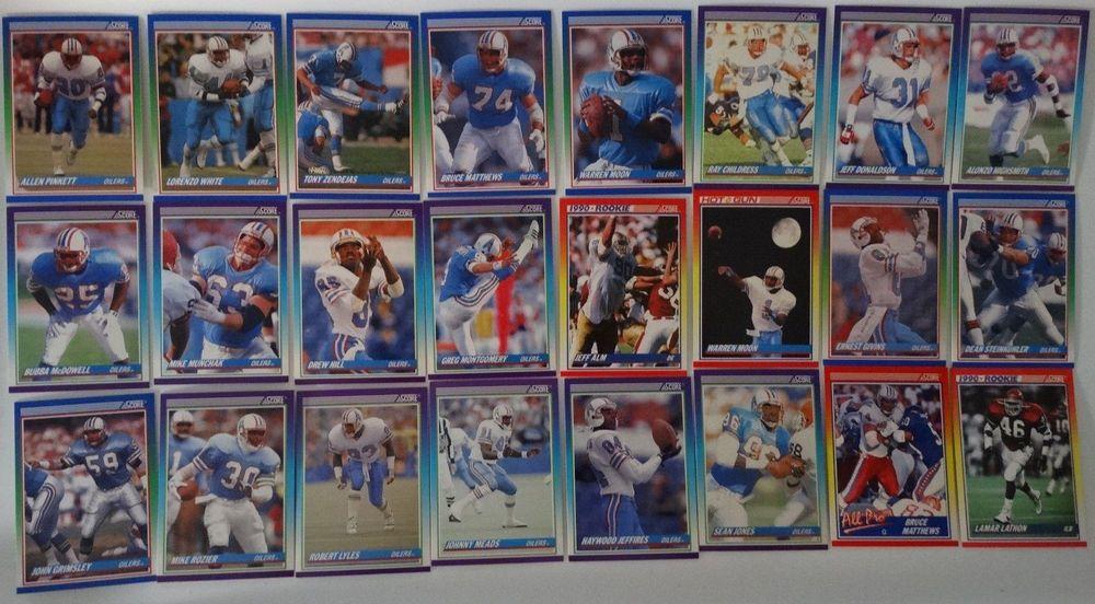1990 score houston oilers team set of 24 football cards