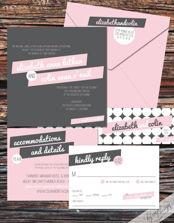 Printable Diy Sweet Pea Pink Grey Wedding Invitations By Hyssop Design