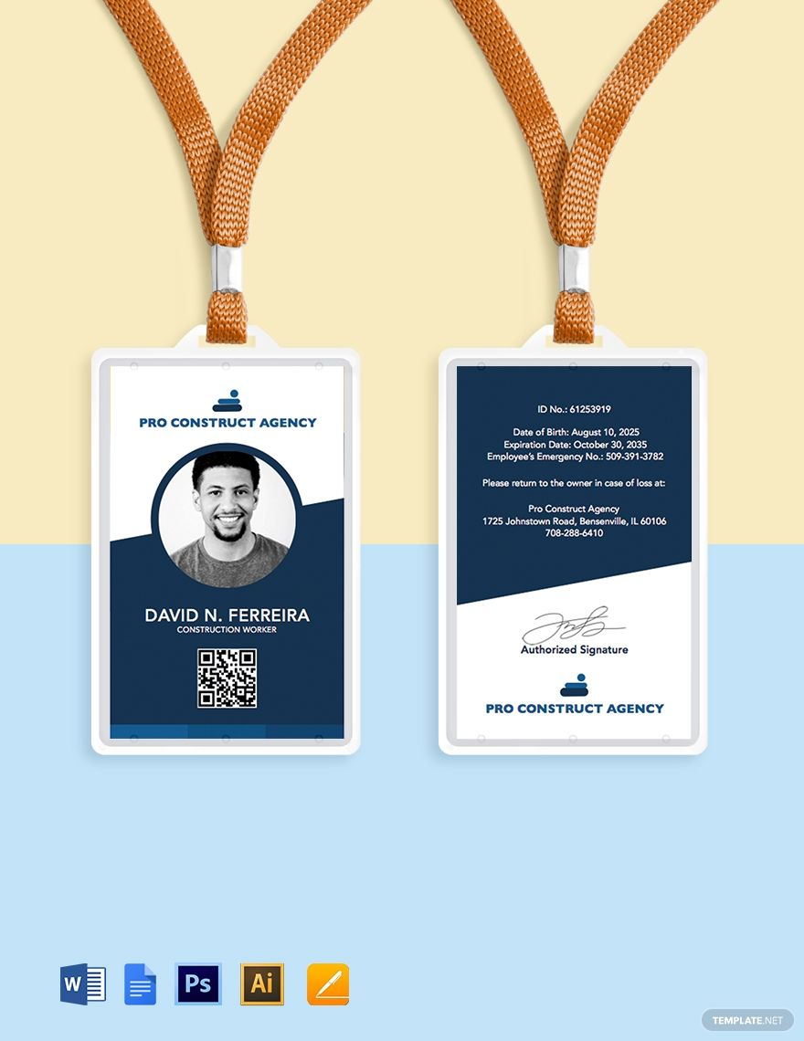 Worker Id Card Template Free Jpg Illustrator Word Apple Pages Psd Pdf Template Net Id Card Template Card Template Card Templates Free