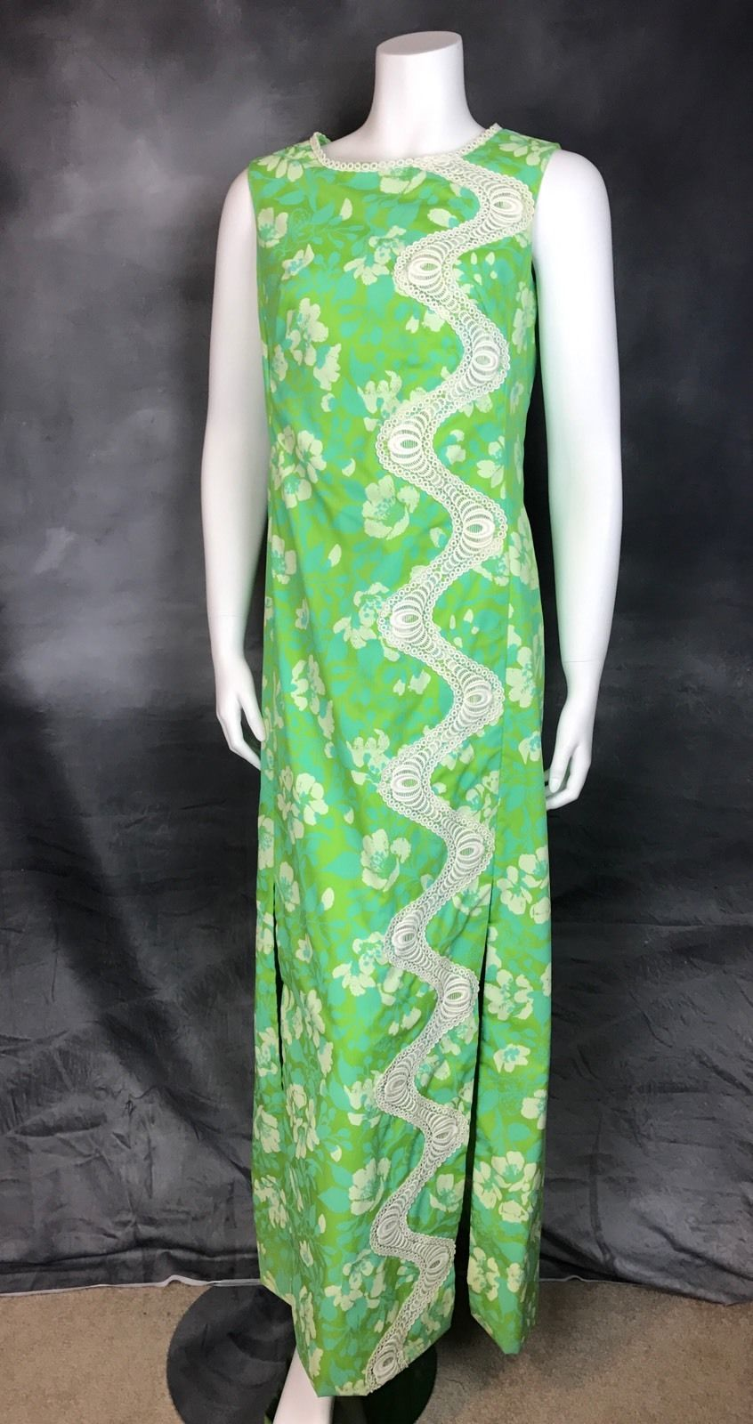 d417936514644e 1960s The Lilly Pulitzer Maxi Dress Blue Green Floral Print Lace Shift dress  M | eBay