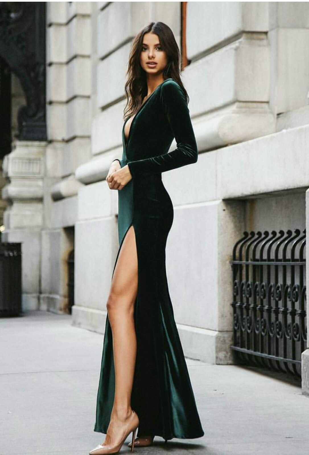 Fontaine Gown Emerald Green Bridesmaid Dresses Emerald Bridesmaid Dresses Green Velvet Dress [ 1088 x 800 Pixel ]