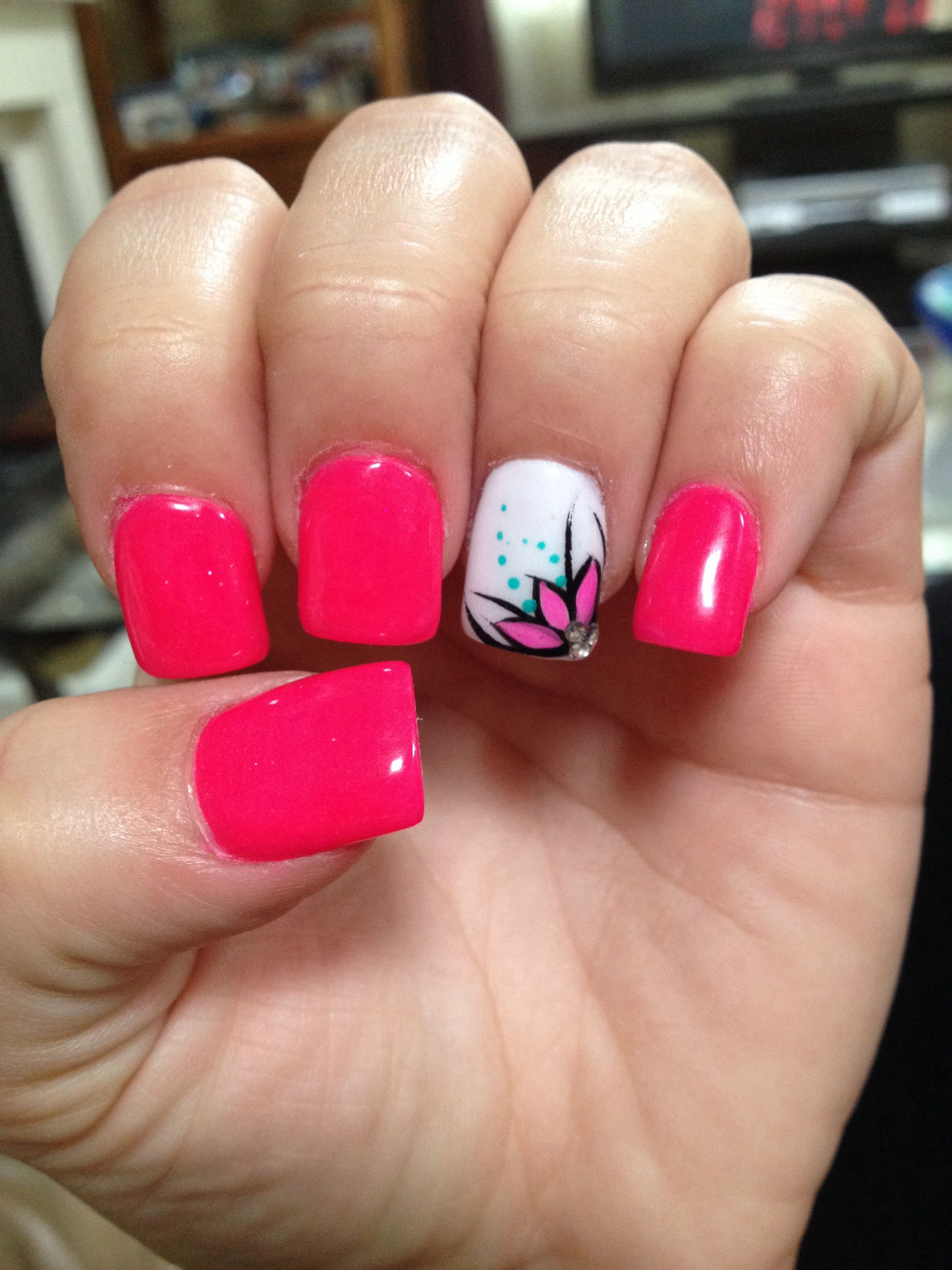 Hot Pink Nails With Flower Design Nail Polish