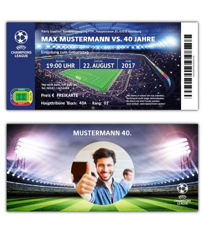 Fussball Einladung als Ticket Eintrittskarte Party Champions