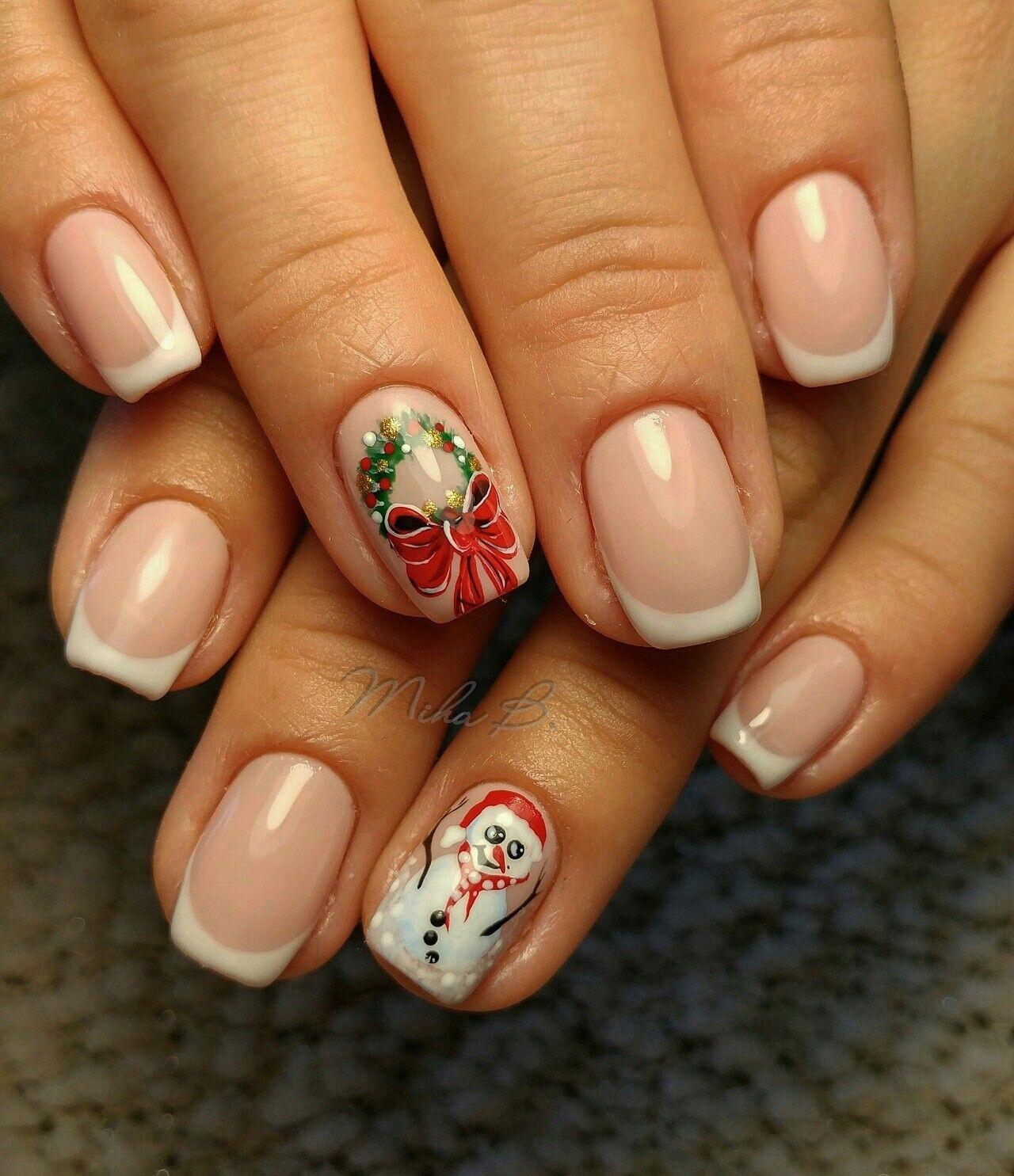 French manicure,Christmas nails, christmas nails, snowman | Nail art ...
