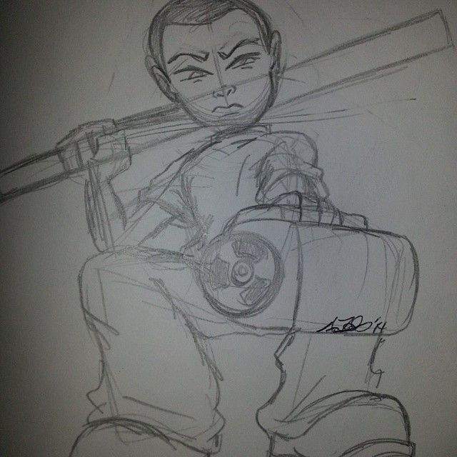 #Tezuka from Artistic G's by #mohnman #Shutupandpayme! #sketchbooks #sketches #Characters #cool #paintguns #yardstick #gangsta #pencil #roughdraft