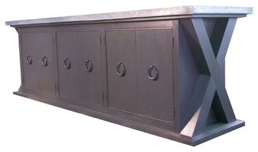 WOW.......10' Teak buffet with zinc top - contemporary - buffets and sideboards - boston - Artfirm / Laidlaw Art