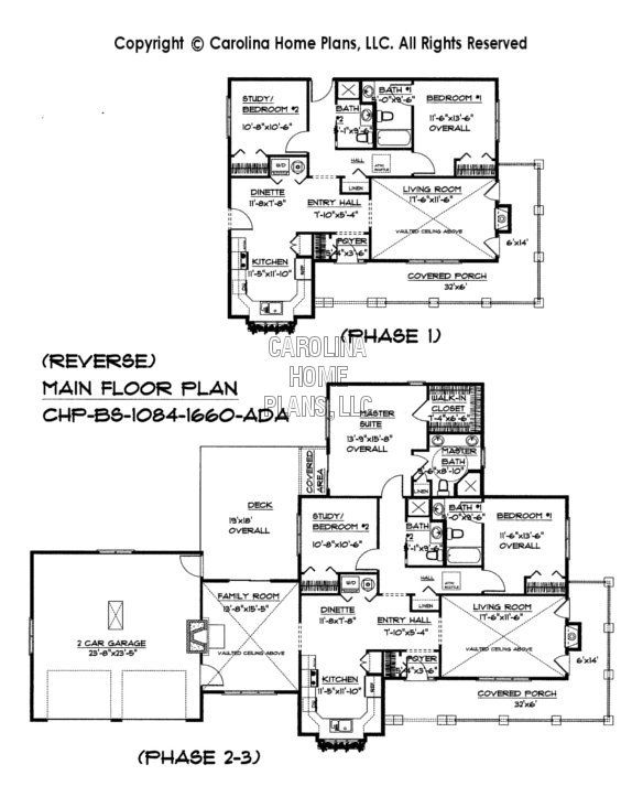 marvelous expandable floor plans #5: Build-in-Stages Small House Plan BS-1084-1660-AD Sq