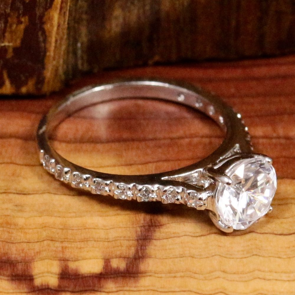 Sterling Silver - Round-Cut CZ Engagement 2.4g - Ring (5.75) YB1321