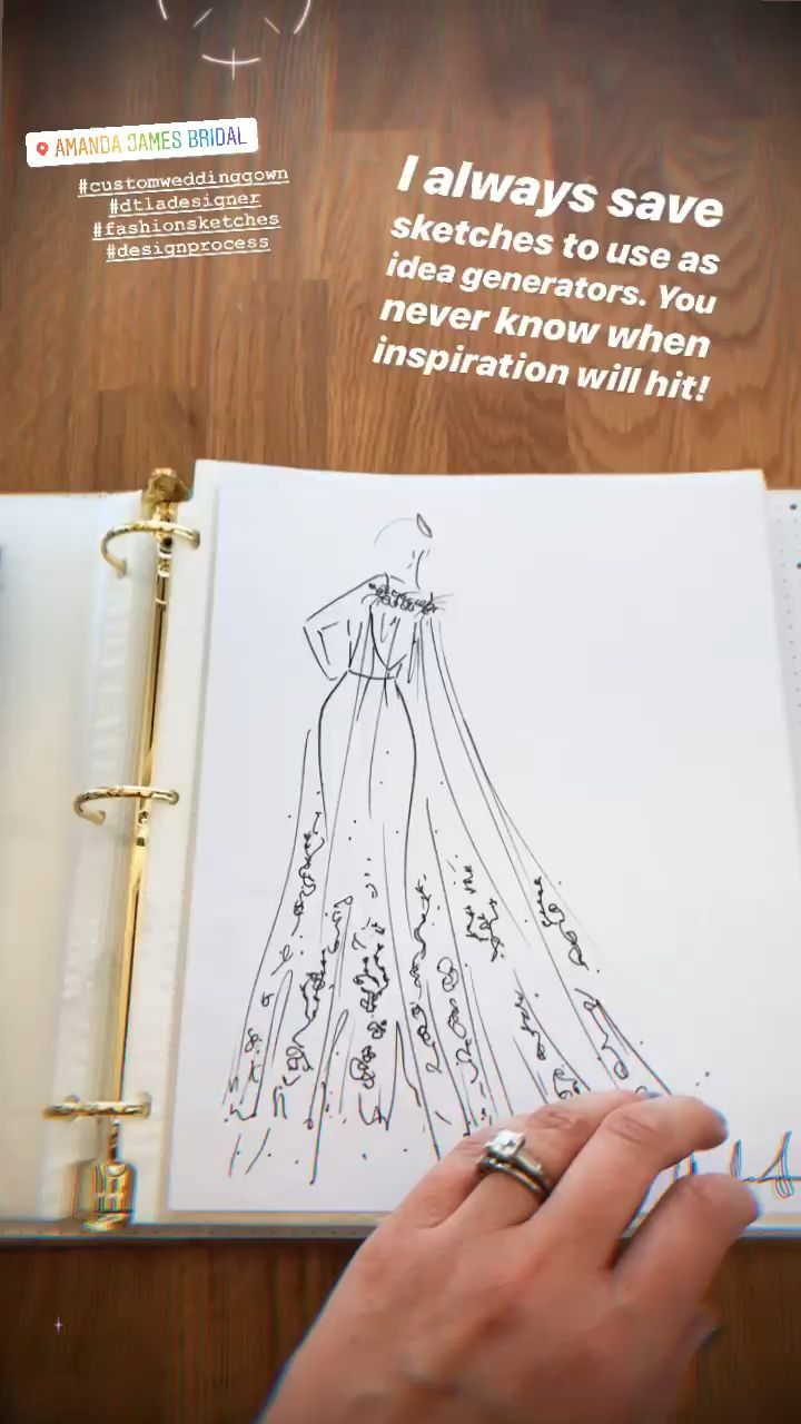 Photo of Sketching custom gowns!