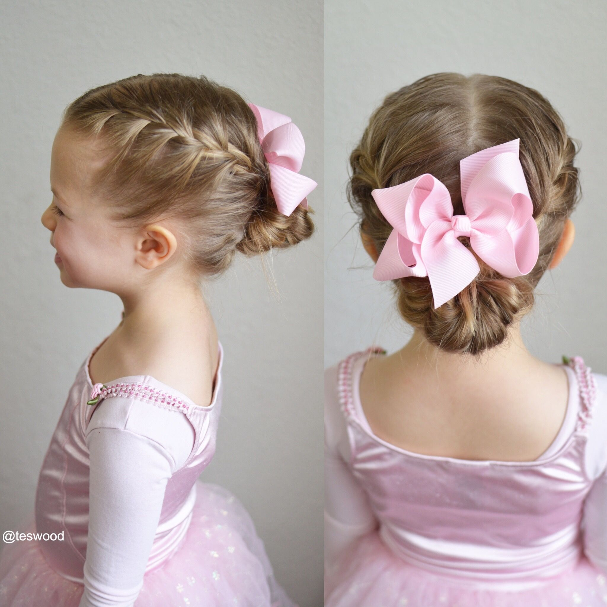 Double French Braids Into A Messy Bun Perfect Style For Dance Kids Hairstyles Girls Little Girl Updo Girls Updo
