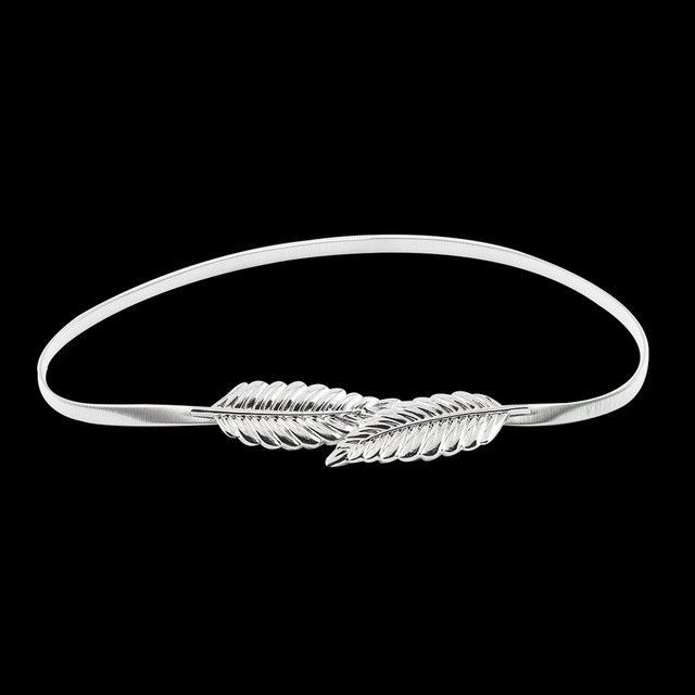 Apparel Accessories Women Leaf Design Belt Metal Leaves Cummerbund Clasp Front Stretch Waistband Gold Silver Elastic Waist Belt Leaves Chain Belts