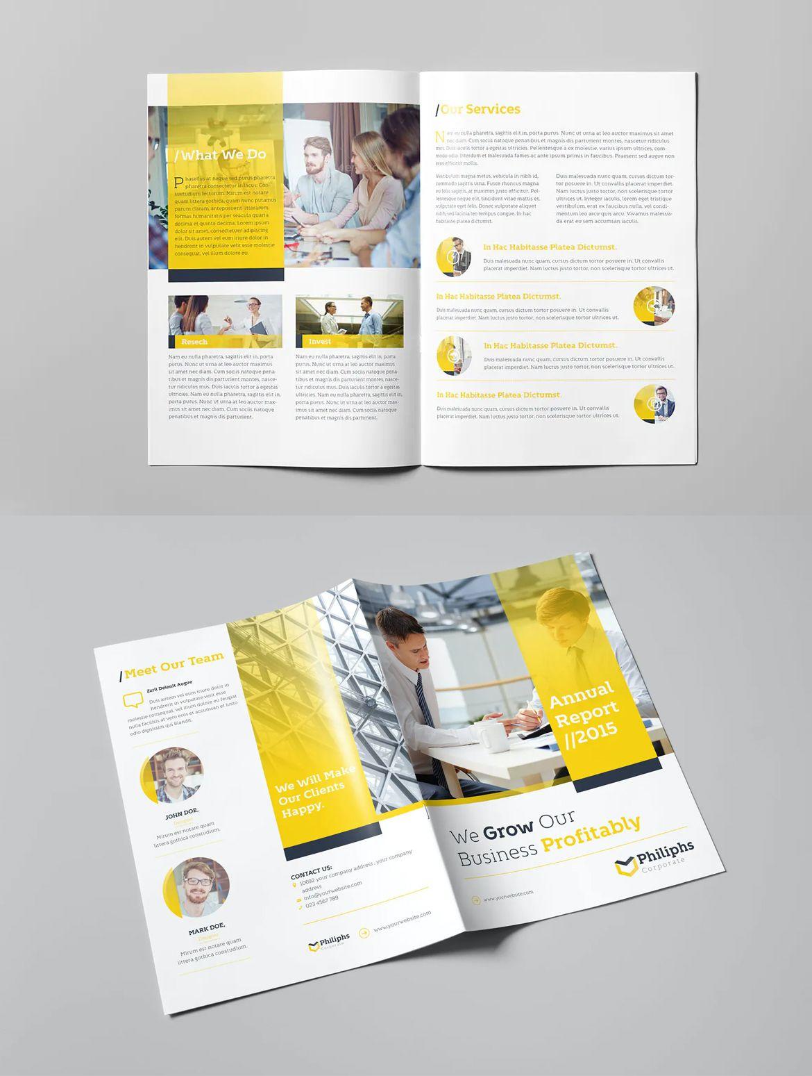 Business Bifold Brochure Template Brochure Design Template Brochure Template Trifold Brochure Design
