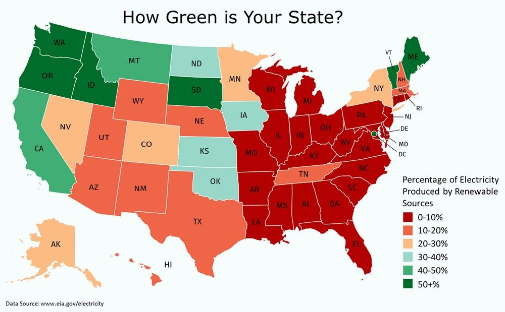 How Green Is Your State Map Energy Issues Historical Maps