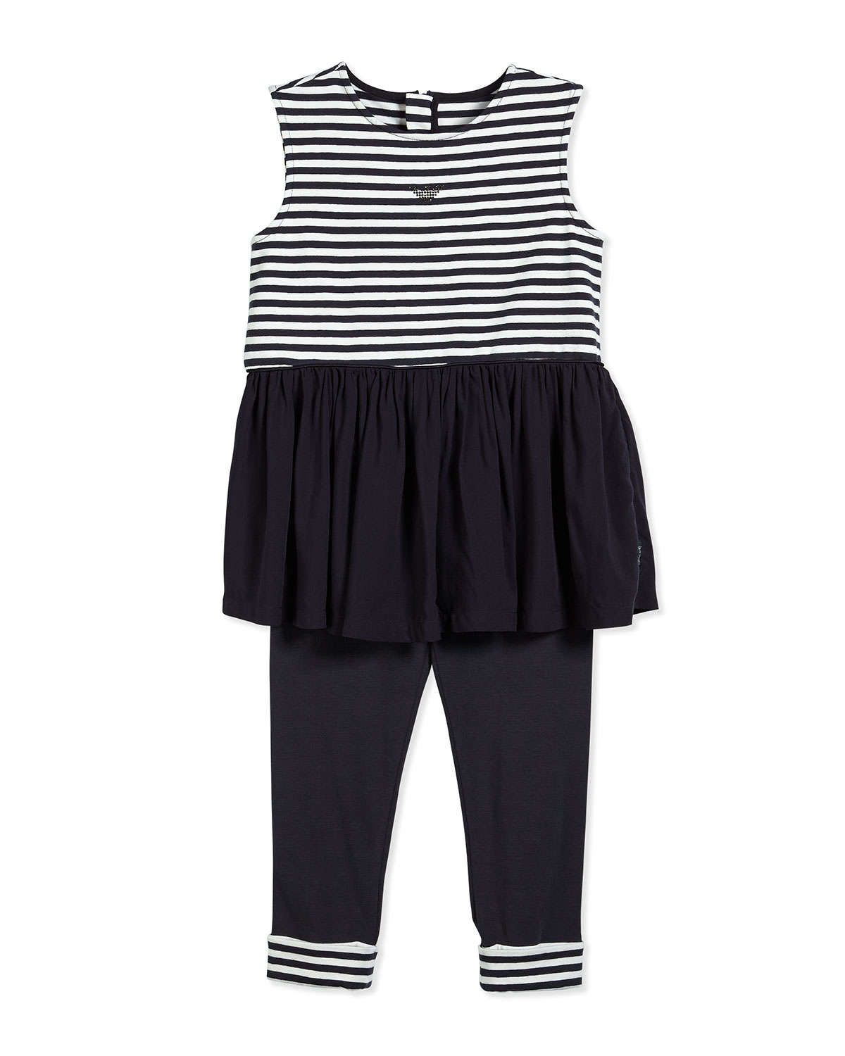 Two-Piece Striped Blouse & Pants, Navy/White, Size 2-8