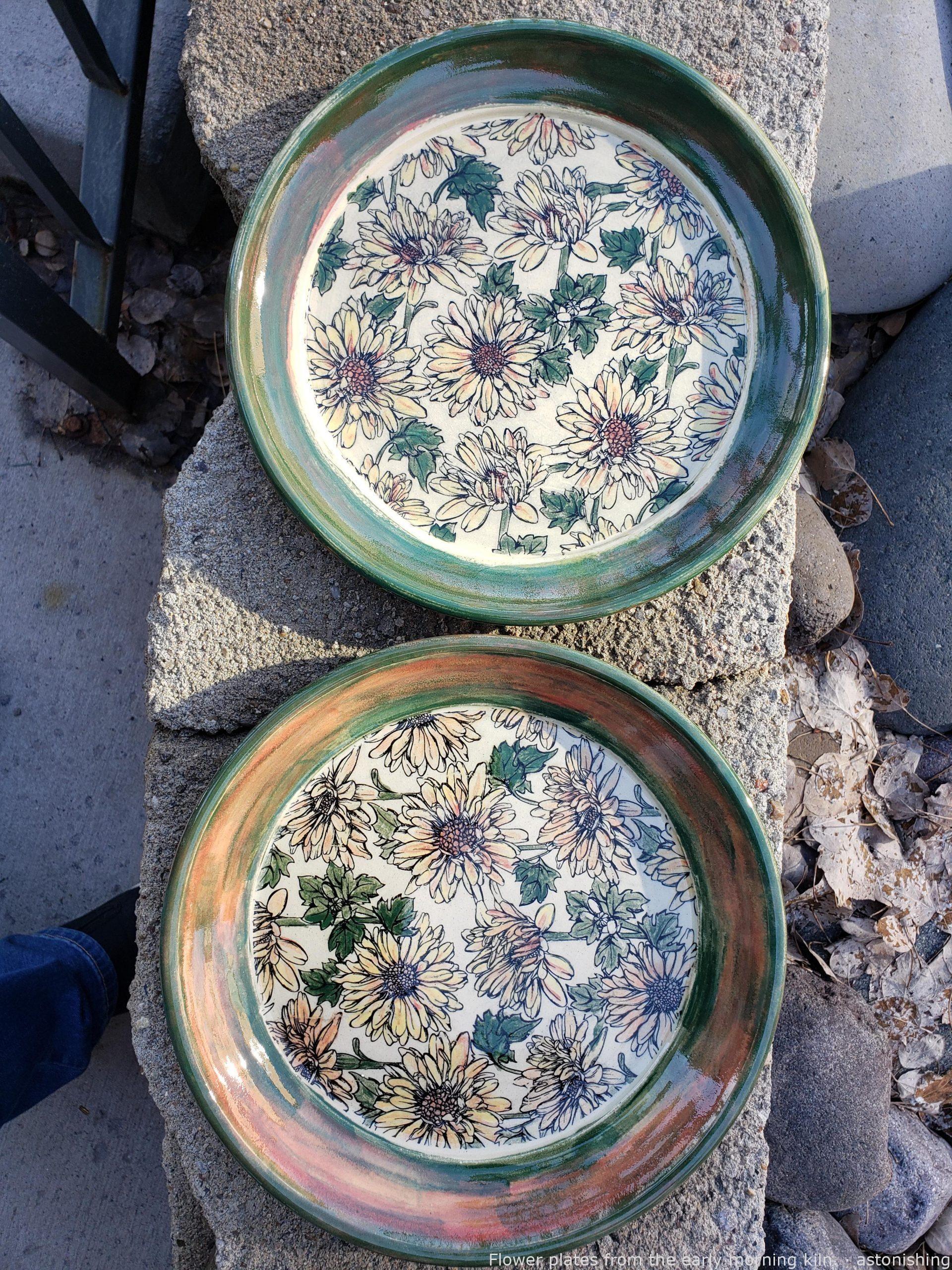 Flower plates from the early morning kiln. · astonishing |  #claypottery #handmadeceramic #potteryceramics #potterydecor #potterydesign