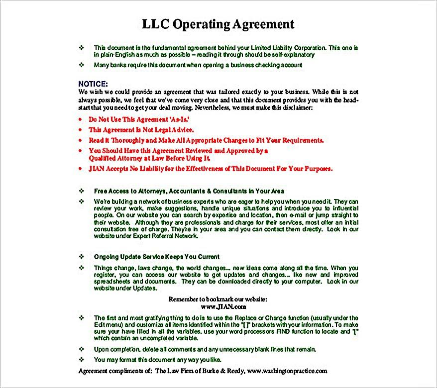 Llc Operating Agreement Template   Operating Agreement Template