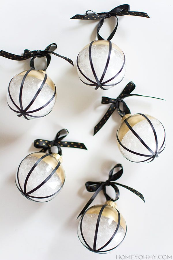 Diy Black White And Gold Ornaments Gold Christmas Decorations