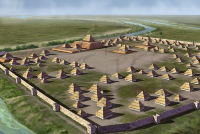 Artists Conception Of The Parkin Mounds Site A Mississippian Culture Archaeological Located At