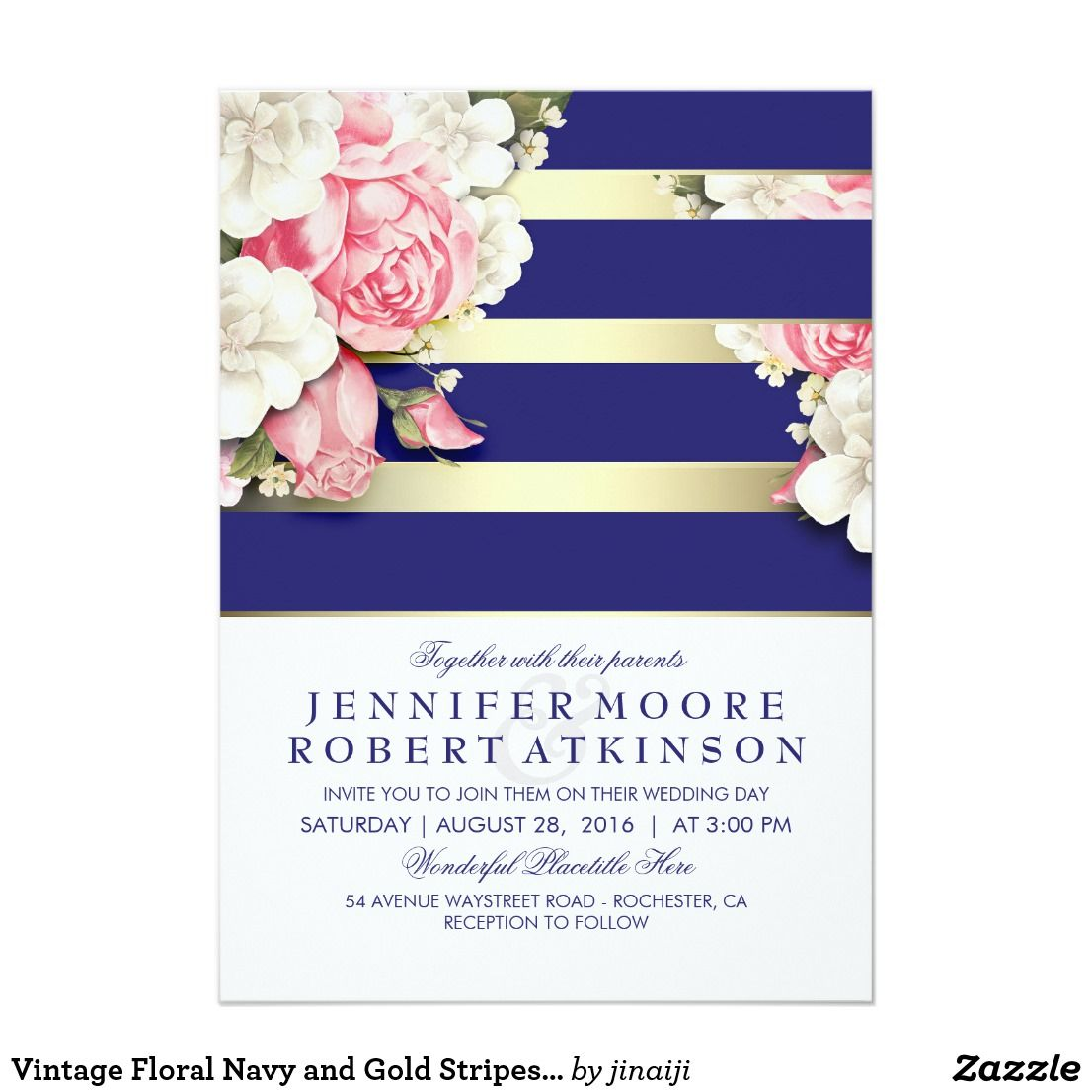 Vintage Floral Navy and Gold Stripes Wedding Card | Gold stripes ...