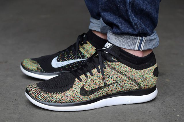 mens nike free flyknit 4.0 green red