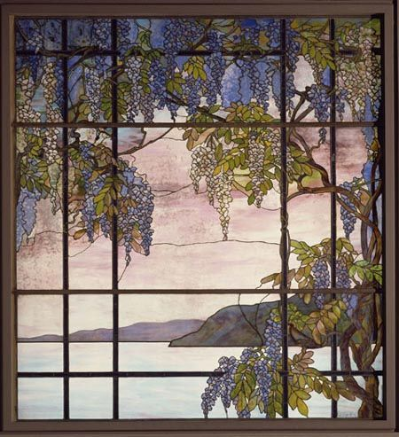 """Muted Pastels = Magnificent Results - """"Wisteria"""" Stained Glass Window - Louis Comfort Tiffany"""