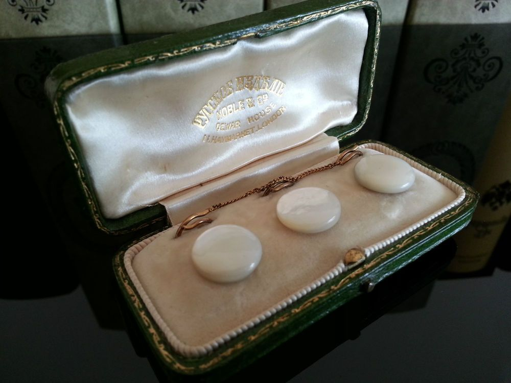 Antique Russian buttons set mother of pearl & brass Noble&Co Dewar House London