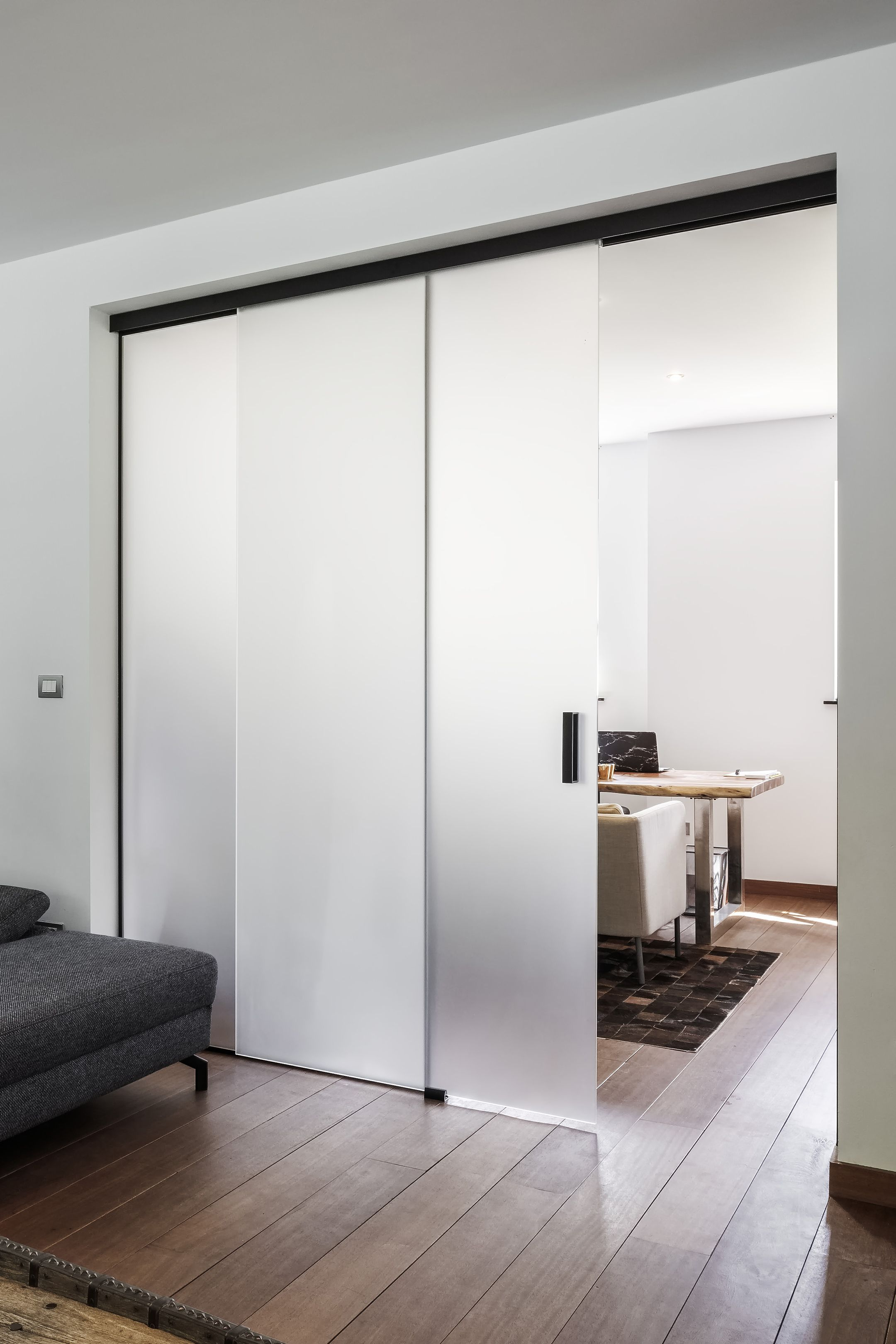 Elegant Frosted Glass Sliding Door With Fixed Glass Partition By Anywaydoors Glass Doors Interior Doors Interior Modern Frosted Glass Door