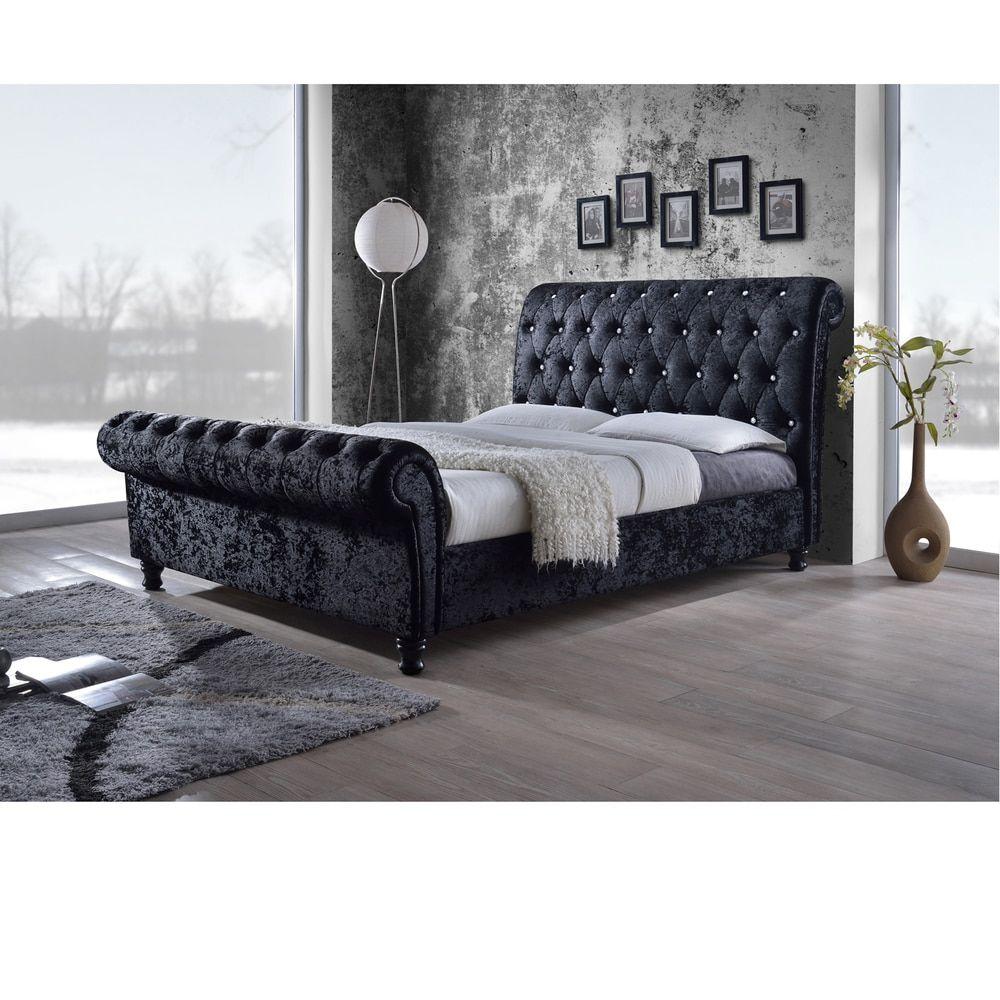 Baxton Studio Pell Contemporary Black Velvet Upholstered Platform ...