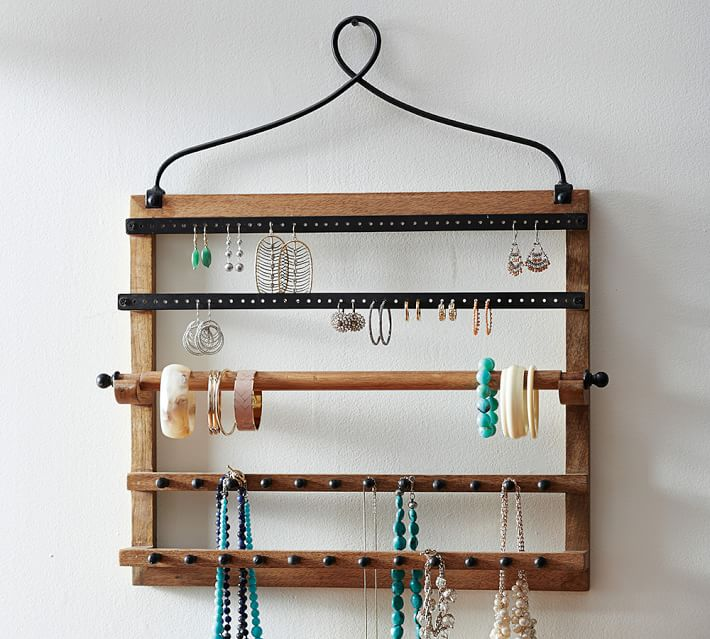 Pine Amp Iron Wall Mounted Jewelry Hanger In 2020 Jewelry