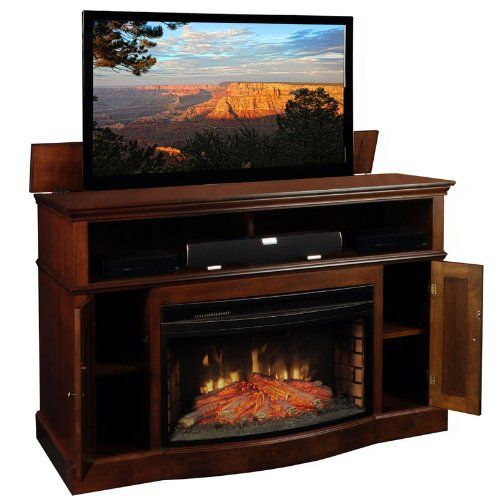 Amazon Com Tv Lift Cabinet With Fireplace For 40 60 Inch Flat Screens Coffee At006449 Ente Tv Lift Cabinet Electric Fireplace Tv Stand Fireplace Tv Stand