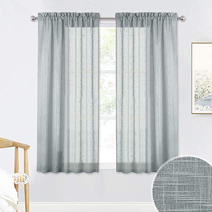 Amazonsmile Ryb Home Linen Textured Sheer Curtains 45 Inch Length