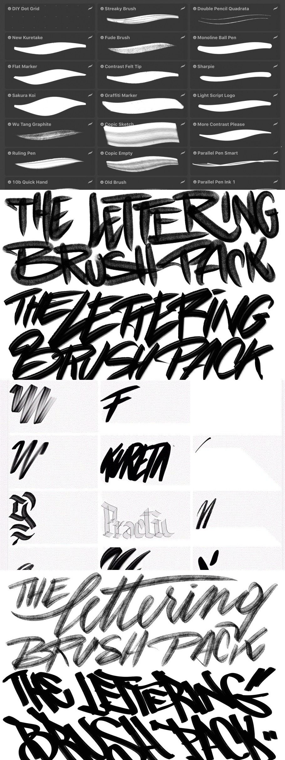 Download The Procreate Lettering Brush Pack (With images ...