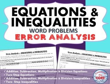 Equations Inequalities Error Analysis Find The Error Error Analysis Equations Error Analysis Math