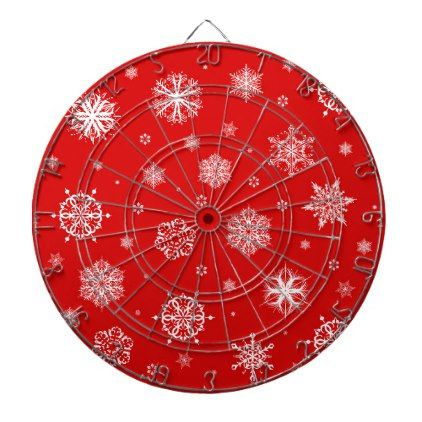 White snowflakes on red background dartboard with darts - red gifts color style cyo diy personalize unique