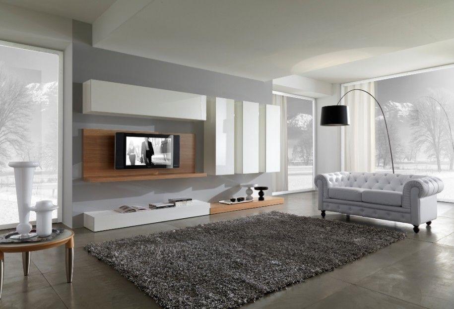 White Chesterfield Sofa In Modern Living Room Idea