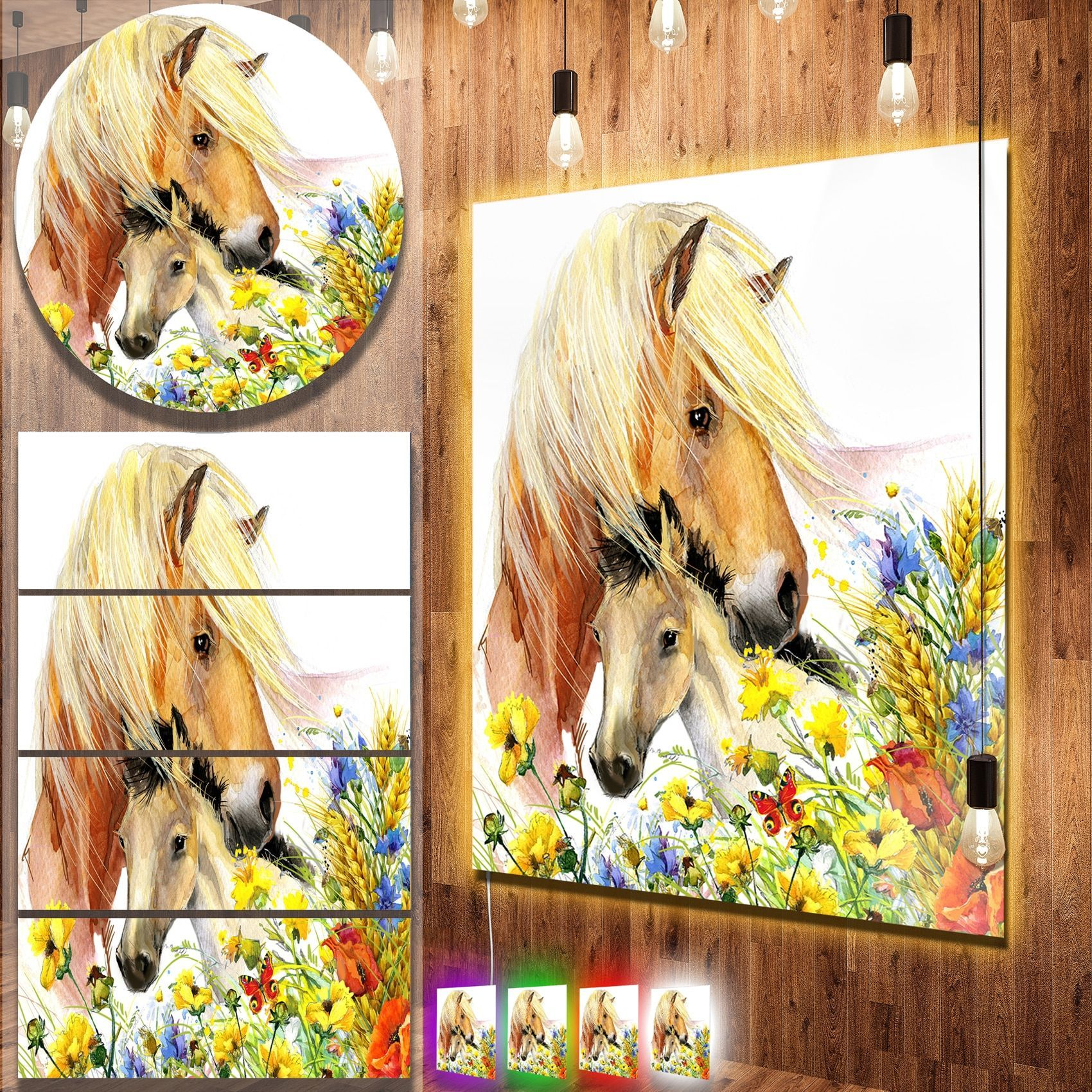 Designart \'Horse and Foal with Meadow\' Animal Metal Wall Art ...