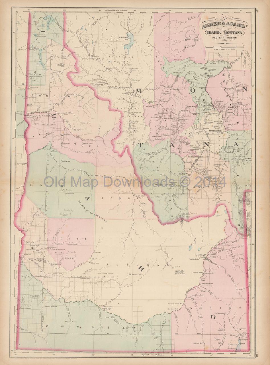 Old Map Downloads - Idaho Montana Territory Old Map Asher | Idaho ...
