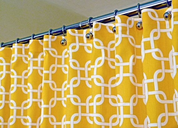 Yellow Shower Curtain Classic Pattern Of White Interlaced Squares