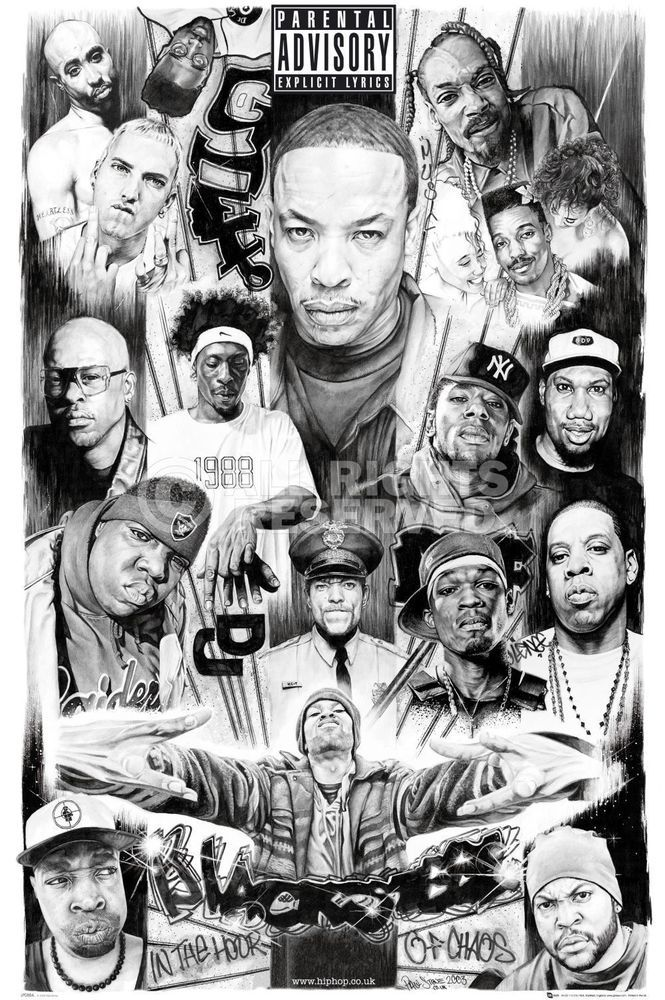 Rap gods poster rappers tupac dr dre eminem ice cube for Eminem wall mural