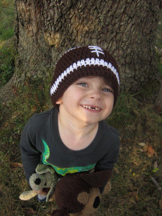 Football Hat Child's Size Crochet Football by crochetedbycharlene