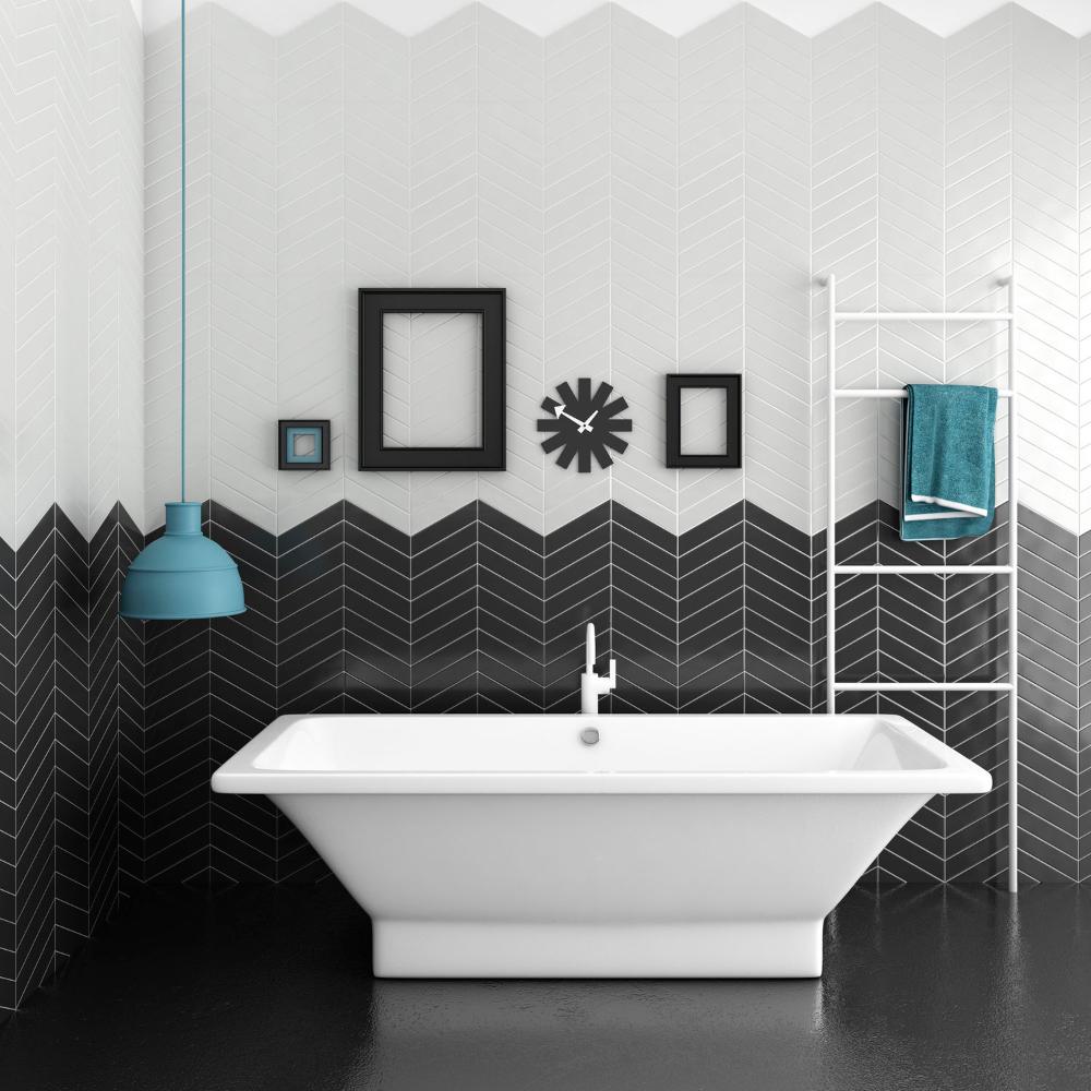 Les formes géométriques sur le carrelage salle de bain et les éléments en bois sont tendances ...
