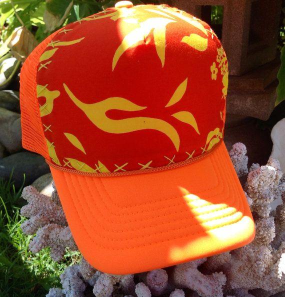 Trucker cap neon orange w/hand stitched vintage by AumoanaDesigns, $20.00