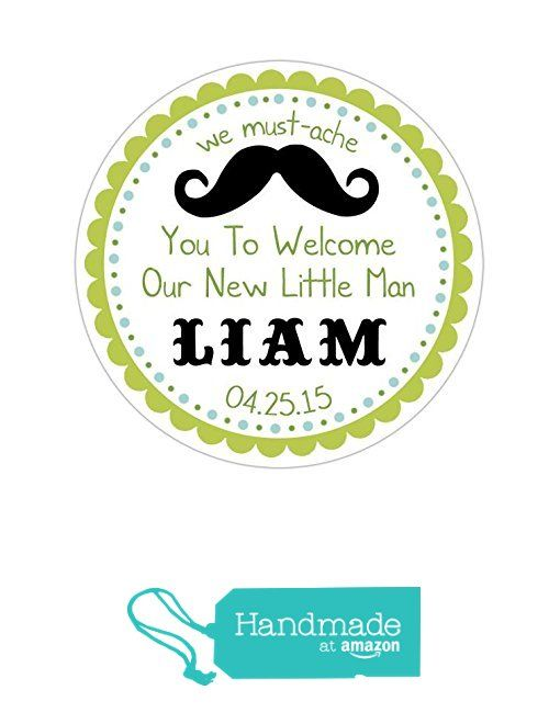 Personalized customized baby shower favor thank you stickers our little man mustache round labels