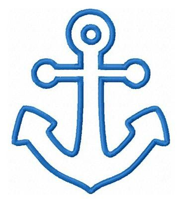 Nautica anchor applique machine embroidery design by