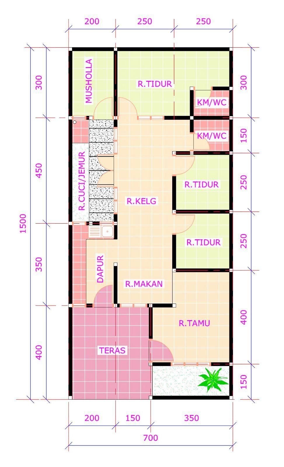 Denah Rumah 7x15 : denah, rumah, Denahose:, Model, Denah, Rumah, Ukuran, Kamar