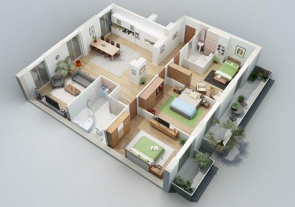 Simple 3d Home Floor Plans 3 Bedroom Free Online Denah Rumah Rumah Minimalis